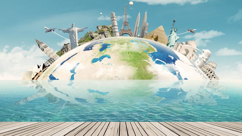 55339799 - image of a globe with the worldwide monuments for vacation. concept of travel to around the world